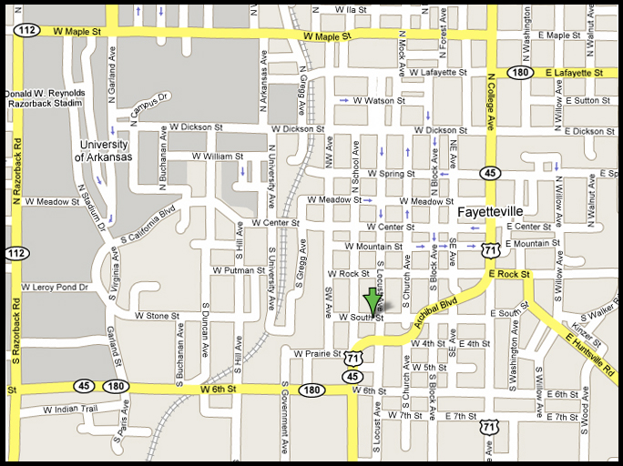 Fayetteville arkansas map for Abstract salon fayetteville ar